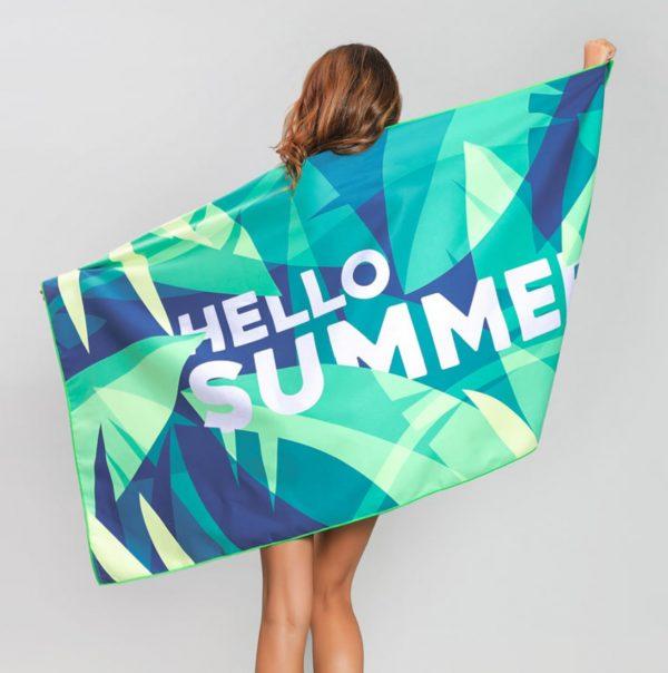 Blue & Green Tropical Hello Summer Microfiber Beach Towel