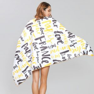 Gold & Black Graffiti Summer Microfiber Beach Towel
