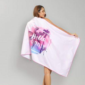 Pink Tropical Hello Summer Microfiber Beach Towel