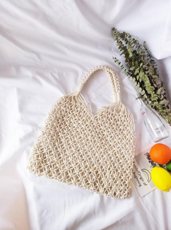 White Fashionable Beach Handbag Mesh Net/Straw Tote Bag
