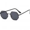 Retro Kids Black Octagon Sunglasses with metal frame