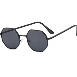 Retro Kids Black Octagon Sunglasses with metal frame