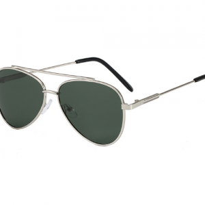 Vintage Kids Dark Green Cat Eye Sunglasses with metal frame